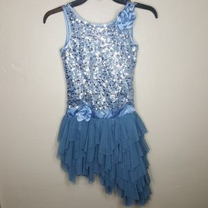 8 Biscotti Blue Gray Sequin Tulle Ruffle Dress C